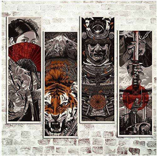 Samurai japonés Kimono Tiger Retro Vintage Poster Art Prints Decoración de la pared Figura Imágenes Imprimir en lienzo -40x120cm4 Sin marco