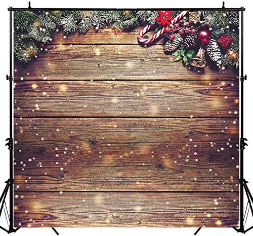 Allenjoy 8X8ft Rustic Christmas Wood Photography Backdrop Sparkle Bokeh Brown Wooden Board Vintage Wall Floordrop Winter Family Party Decorations Holiday Xmas Background Portrait Studio Photo Booth