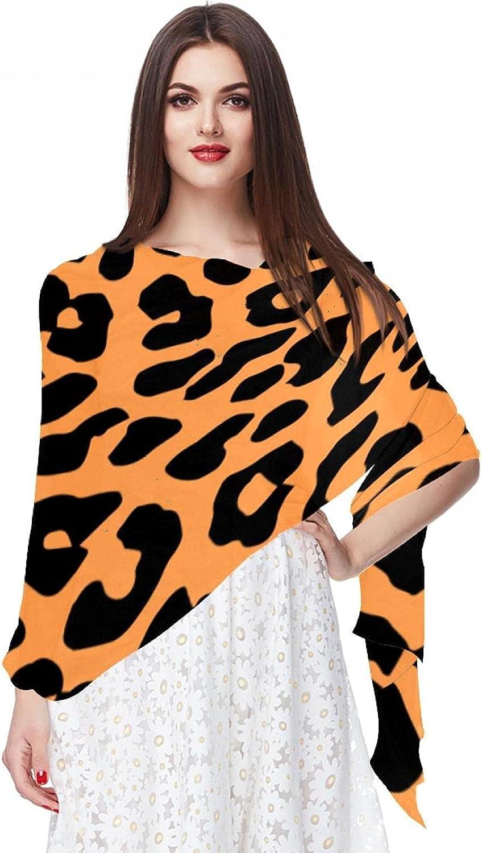 Leopard Print Women Soft Chiffon Pashmina Shawl Wrap Scarf for Bridesmaid Wedding Formal Party Evening Dress