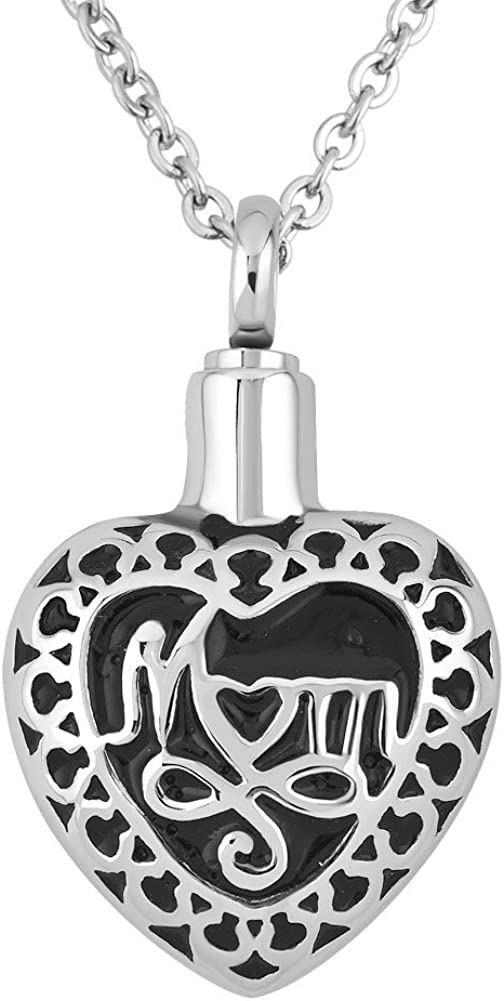 DemiJewelry Stainless Steel Heart Cremation Keepsake Urn Necklaces for Ashes Memorial Mom Pendant