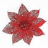 Sayla Weihnachten Dekoration 10pcs Weihnachtsbaum-künstliche Blumenverzierung Weihnachtsdekor-Funkeln-Geburtstagsfeier (Rojo)