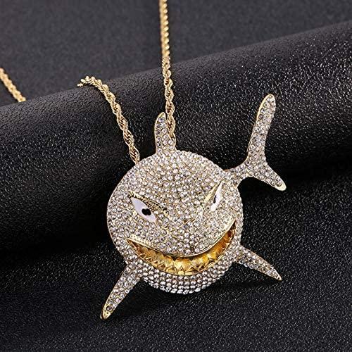 Oaisij Collar de Hombres y Damas con Accesorios de Tiburones Grandes, joyería de Hip Hop con Cristales de Hielo, Collar Cubano, Ornamento Antiguo, Cadena de Cuerda de Oro