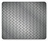 Ambesonne Grey Mouse Pad, Fence Design Netting Display with Diamond Plate Effects Chrome Motif Print Illustration, Rectangle Non-Slip Rubber Mousepad, Standard Size, Silver