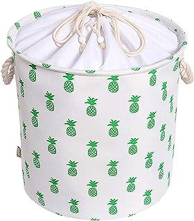 rismart Panier de rangement en toile avec cordon de serrage et poignées en corde Motif ananas, polyester coton, Ananas bla...