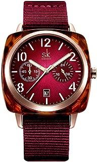 Ultra-Thin 12mm Quartz Watch 40mm Multi-Function Luminous Calendar Nylon Strap Casual Waterproof 30 Meters Green Red Square Women's