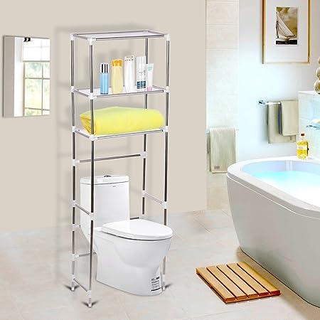 Estantería para Baño WC Estantería Auxiliar Estantería para Almacenamiento sobre el Inodoro Ahorro de Espacio (3 Niveles)