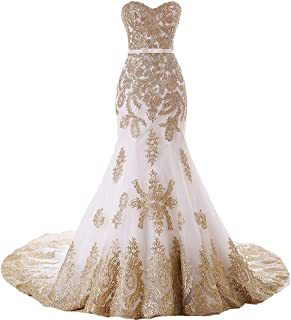 Mermaid Long Tulle Gold Lace Corset Sweetheart Wedding Dresses with Sash