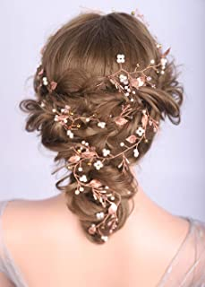 Deniferymakeup Wedding Hair Vine Extra Long Hair Vine for Girls and Brides Leaf Bridal Hair Piece Hair Vine Gold Leaf Hair Comb Fall Wedding Hair Accessories Hair Vine Bridal Jewelry (Rose Gold)