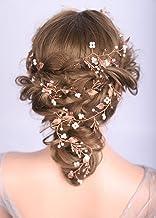 Deniferymakeup, peineta para el pelo extra larga, para niñas y novias, accesorio para el pelo de novia, peineta de hojas doradas, accesorio para el pelo, joyería para novias