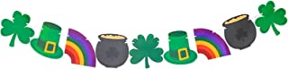 Bobee St Patricks Day Decorations Banner, 9 St Pats Decor, Shamrock, Top Hat, Rainbow, Pot of Gold, pre-Strung on 8 Foot White Ribbon