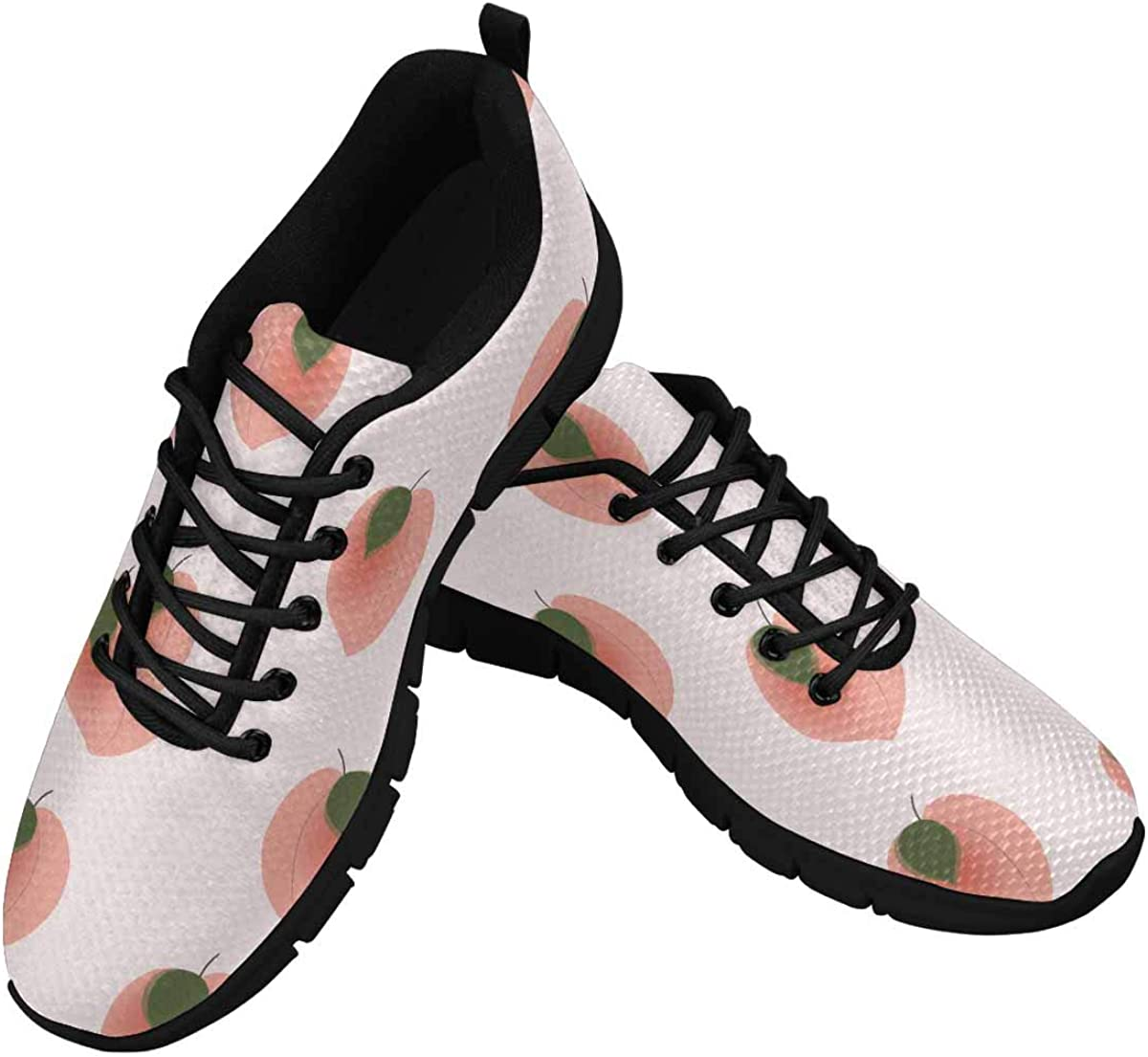 INTERESTPRINT Pink Peaches and Leaves Women's Breathable Sneaker