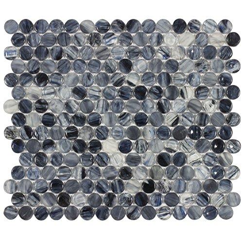 MTO0020 Azulejo de mosaico de vidro brilhante redondo azul marinho preto e branco
