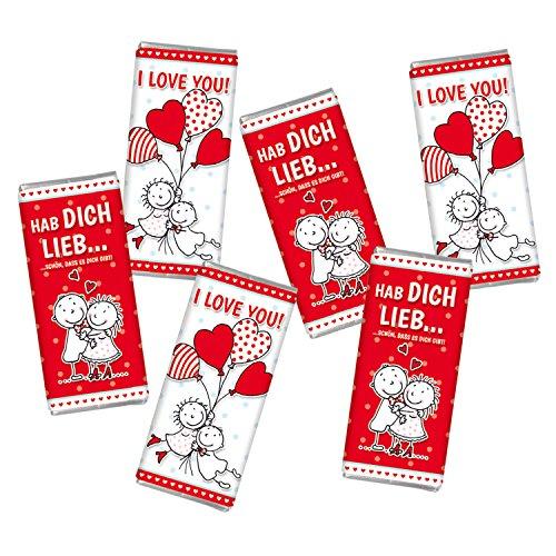 6 mal Mini Schokolade Valentinstag LIEBE STEINBECK Adventskalender Befüllung Vollmilch Schokolade Tafel 6er Set Geschenk Mitgebsel Herzen Liebe Frauen Männer Schatz