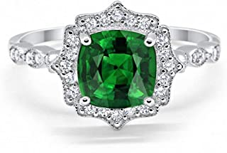 Halo Art Deco Engagement Ring Cushion Simulated Round Cubic Zirconia 925 Sterling Silver Choose Color