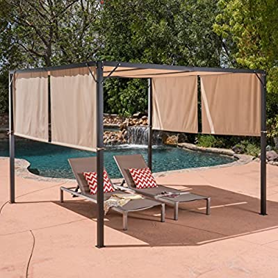 Christopher Knight Home 304392 Wendy Outdoor Steel Framed 10' Gazebo, Beige, Black