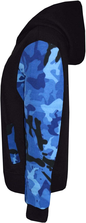 Boys Girls Jackets Kids Fleece Camouflage Hooded Hoodie Zipped Top Jacket 5-13 Y