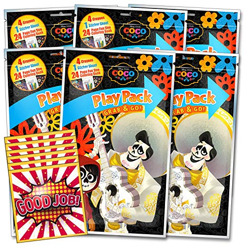 Disney Coco Coloring Party Favors Set of 6 with Stickers, Crayons, and Mini Coloring Books Bundle Includes 6 Separately Licensed GWW Reward Stickers