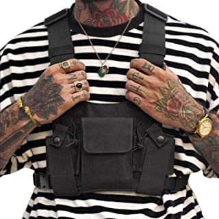 Croogo Universal Hands Free Radio Front Pack Pouch Hip hop Bag Chest Rig Vest Bag Harness Bag Rescue Bag