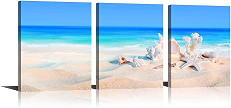 YPY Oil Paintings Beach Sunset Wall Art for Home Living Room Bedroom Office Ready to Hang Canvas Material Framed 3 Panels 12x16in YPYC02