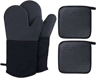 webake Oven Mitts and Pot Holders Set of 4, 2 pcs Long Silicone Baking Oven Gloves and 2 pcs Silicone Hot Pads with Pocket Heat Resistant for Finger Hand Wrist Protection