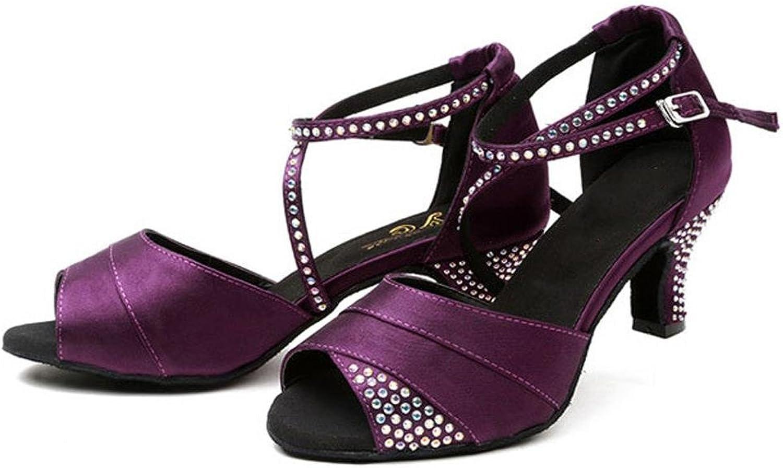 Frau lateinisch tanzen sandalen satin satin diamant leder tango salsa samba tango ballsaal offener zeh weich wildleder sohlen schnalle high heels lila schuhe . c . 38  schnelle Lieferung