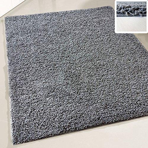 Flauschiger Teppich Langflor Hochflor Shaggy Teppiche Modern Wohnzimmer Flokati Einfarbig Uni | verschiedene Maße | Kinderzimmer & Jugendzimmer geeignet | Schadstofffrei (Dunkelgrau, 70 x 140 cm)