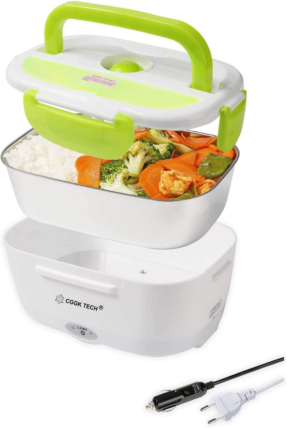 CGGK TECH® Fiambrera Electrica Caja calefactora Fiambrera Lunch Box eléctrico 220V 12V Calidad alimentaria para Comida Caliente de Acero Inoxidable