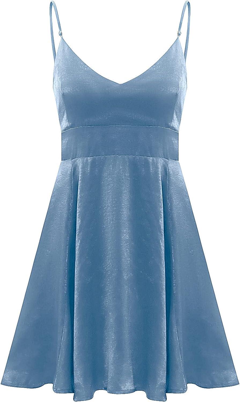 Women's Casual Summer Short Dress V-Neck Cardigan Slim Strap Slim Dress (Blue, X-Small)