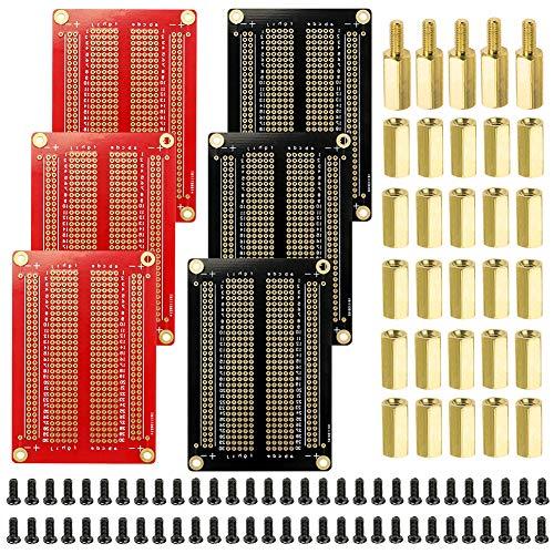 WayinTop Proto Boards PCB Breadboard & M3 Pilares de Latón y Cobre Kit, 6pcs Doble Cara Junta de PCB + 5pcs M3 Pilares de Latón (10mm+6mm) + 25pcs 10mm M3 Cobre + 60pcs M3 Tornillos para Arduino
