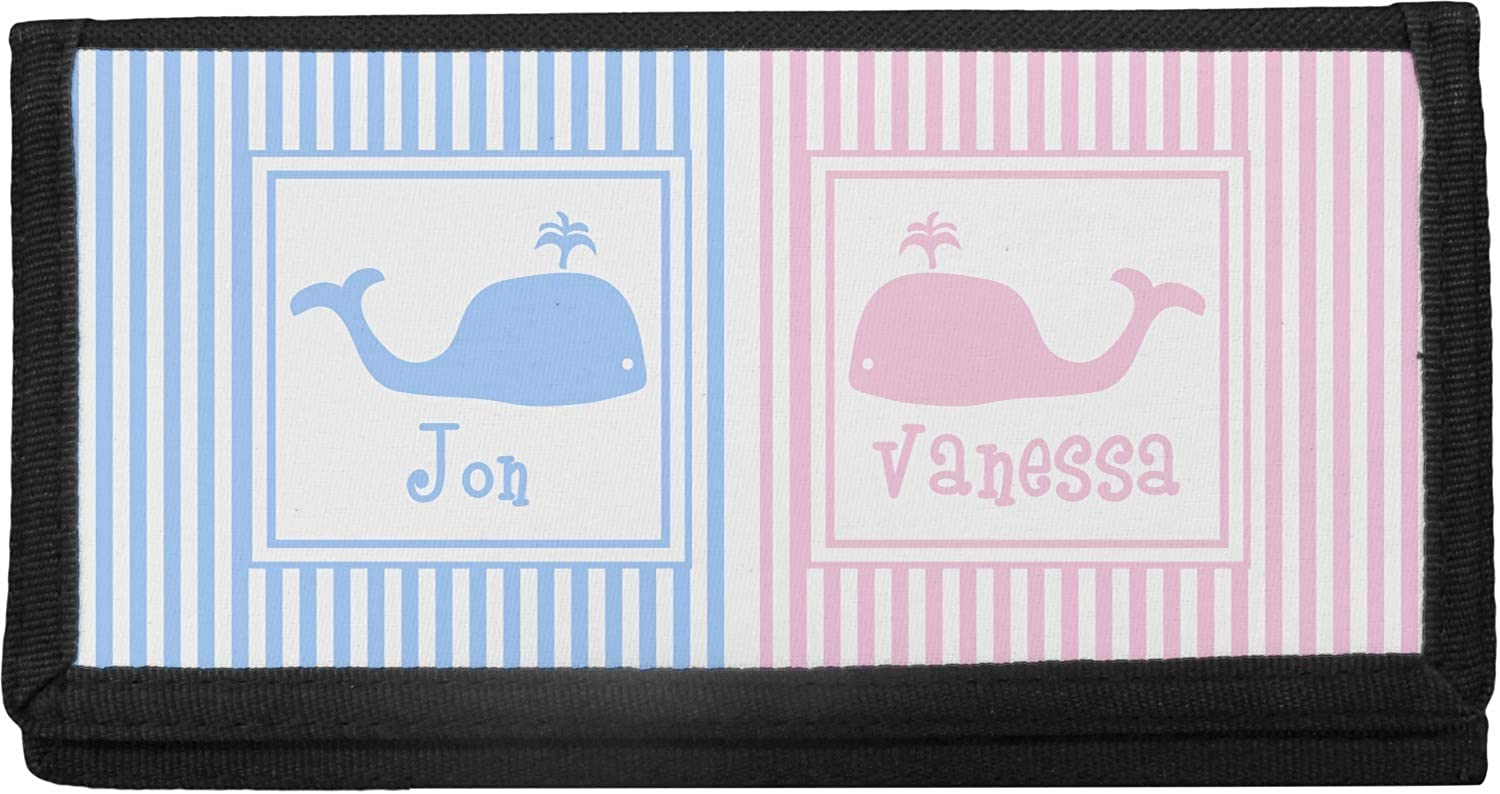 Striped Ranking TOP2 w Max 51% OFF Whales Canvas Checkbook Cover Personalized