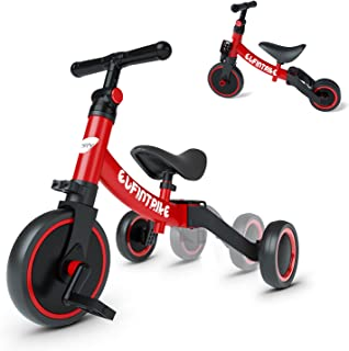 besrey Balance Bike, Light Weight Kids Tricycle, Toddler Bike, Ultimate 3-in-1 Design Baby Bike for 1-3 Years Old-Red