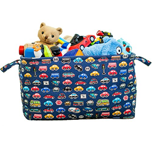 Blue Toy Storage Basket for Boys with Car Prints Such as Police Cars, Firetrucks and School Bus,...