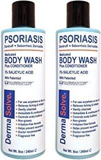 Psoriasis Body Wash by DermaSolve (2-Pack) | Proven to Provide Relief from Dry Itchy Red Flaky Scaly and Inflamed Skin - Psoriasis, Eczema, Seborrheic Dermatitis - Doctor Recommended (8.0 oz Each)