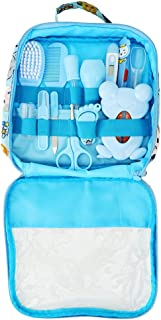 Qinlorgo Baby Healthcare and Grooming Kit, 13PCS Baby Nail Care Cleaning Set Personal Daily Cleaning Care Tool with Convenient Tote(Blue)