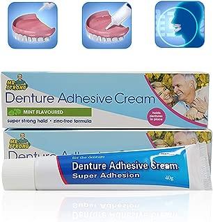 Zinc Free Formula Denture Adhesive Cream,1.41 ounce(3 Pack),Menthol Flavor,Extra Care Denture Care Adhesive Cream - Strong Hold Denture Cream for Full,Partial Denture Fixing, Adhesive Denture Bonding