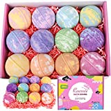 rosevale bath bombs gift set,12 large 5oz bubble bath fizzies,shea & coco butter dry skin
