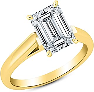 3 Ct GIA Certified Emerald Cut Cathedral Solitaire Diamond Engagement Ring 14K White Gold (J Color VS2 Clarity)
