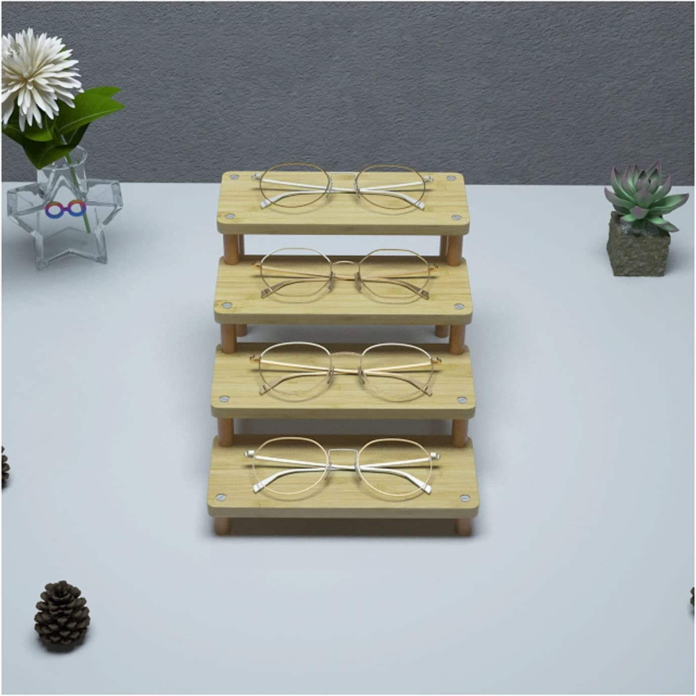 DALIZHAI777 A surprise price is realized Sunglasses Organizer Wooden Frame Stand New sales Eyeglasses
