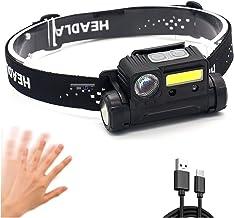yqs Hoofd Zaklamp, LED Running Koplamp Bewegingssensor Vissen Rijden Hoofd Torch Licht Type C USB Werklamp Camping Lantaar...