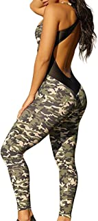 Sumtory Women Crisscross Bandage Backless Camo Bodycon Jumpsuits Long Pant Romper Playsuit