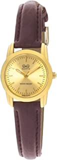 Q&Q Women's Gold Dial Leather Band Watch - Q469J100Y