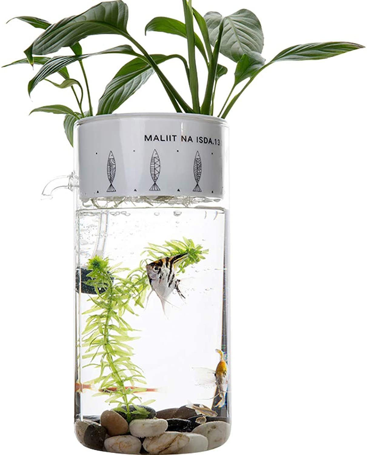 Aquariums, Creative Waterfree Fish Tanks Small Selfcleaning Ecological Office Desktop Mini Glass Lazy Aquarium
