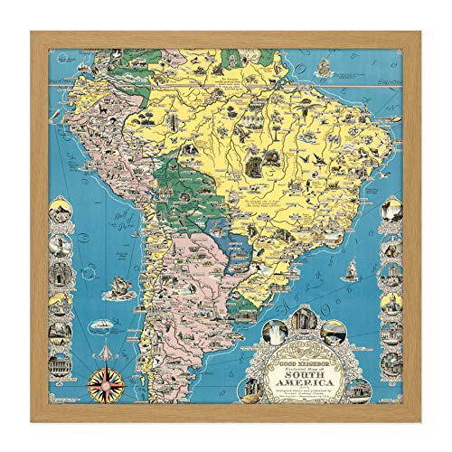 1942 Ernest Dudley Chase Good Neighbor Map South America Square Wooden Framed Wall Art Print Afbeelding 16X16 Inch Goede kaart Zuidzeemse houten muurschildering