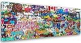 Feeby. Tableau Déco, Impression sur Toile, Décoration Murale, Image imprimée, 90x30 cm, Graffiti, Mur, Multicolor