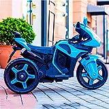 AUTOKS Niño Moto eléctrica Juguete Paseo en automóvil Rueda Auxiliar Triciclo 1-3-6 años Paseo en vehículos Niño Niña Bebé Carga Grande Niño Coche de Juguete Puede Sentarse (Color: Azul)