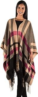 Inca Fashions - Women's 100% Baby Alpaca Blanket Duster, Shawl & Wrap, Striped Travel Kimono