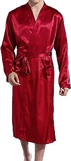 Lu's Chic Men' Satin Kimono Robe Silk Classic Long Bathrobe Pockets Lighweight Loungewear