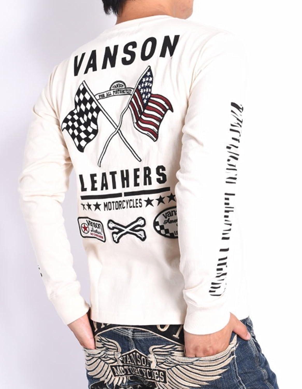 (バンソン) VANSON 長袖Tシャツ クロスフラッグ 刺繍プリント ワッペン ロングTシャツ NVLT-714-NATURAL