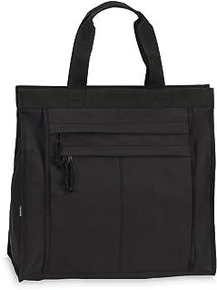 Einkaufstasche Shopper Tasche Umhängetasche Strandtasche Innenfach + 2 Außenfächer mit Reißverschluss - Schwarz