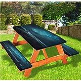 Night Sky - Mantel ajustable para mesa de picnic y banco, con borde elástico, 70 x 72 cm, juego de 3 piezas para camping, comedor, al aire libre, parque, patio
